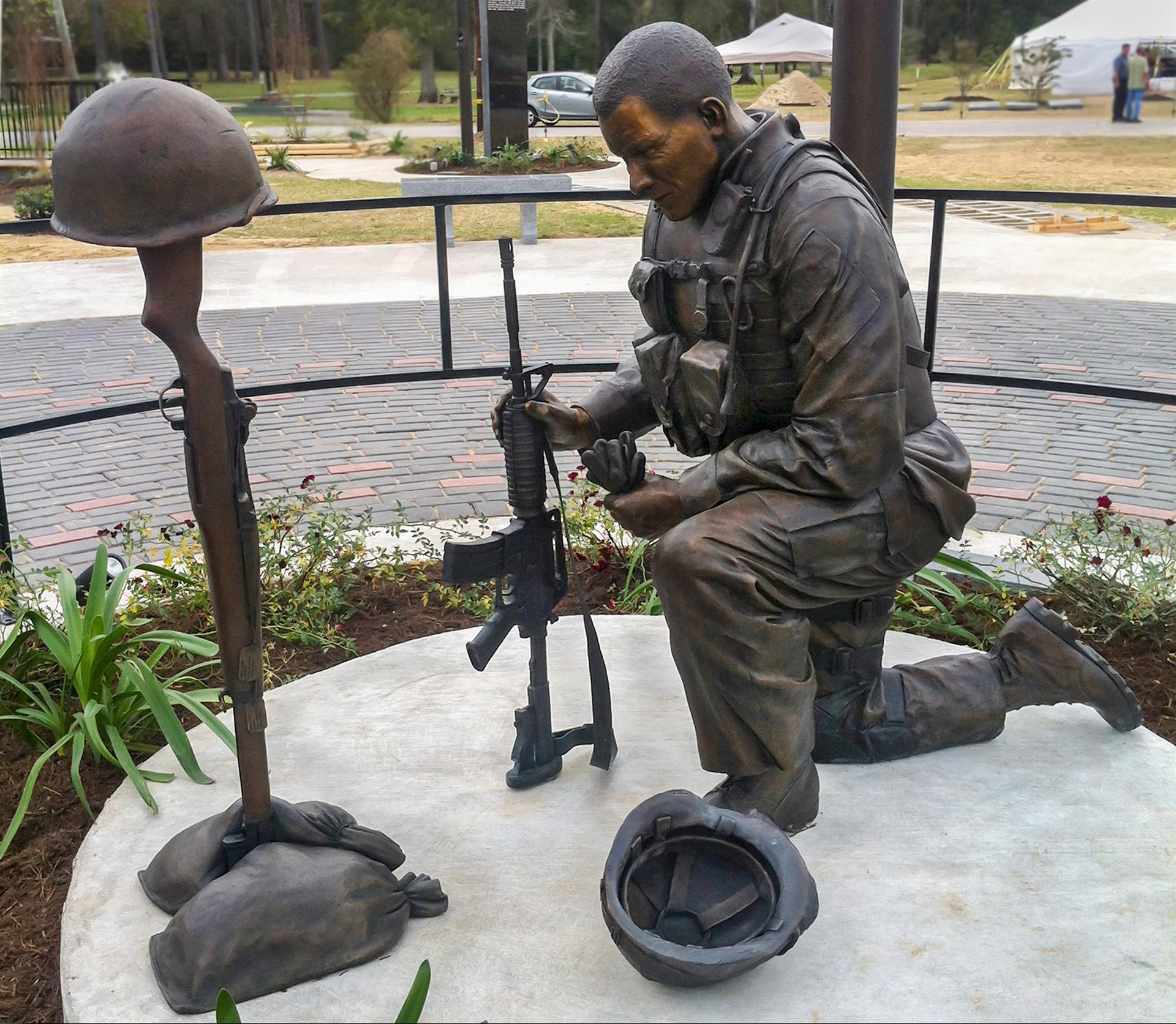 Kneeling soldier studio